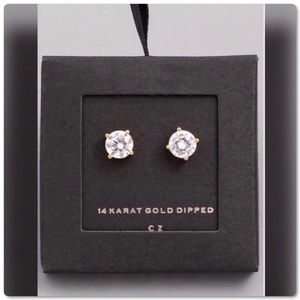 14K Gold Dipped CZ Sparkle Plus Stud Earrings